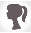 Girl face silhouette isolated on white Simple vector image