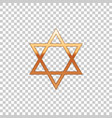 golden star of david on transparent background vector image vector image