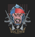 gorilla america usa flag with machine gun artwork vector image