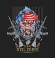 gorilla america usa flag with machine gun artwork vector image vector image