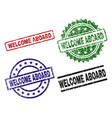 grunge textured welcome aboard stamp seals vector image vector image
