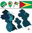 Guyana map with named divisions vector image vector image