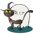 Halloween Witch Cat By A Tombstone vector image vector image