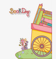 handcart stacked books in grass with flowers vector image