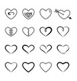 heart outline black color set vector image vector image