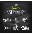 Hello Summer Lettering set at chalkboard vector image vector image