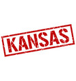 kansas red square stamp vector image vector image