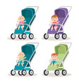 little babys in carts characters vector image vector image