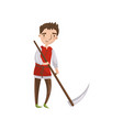 medieval man with scythe cartoon vector image