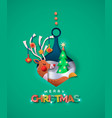 merry christmas paper cut deer in bauble ball card vector image vector image