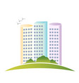 modern building and green landscape logo vector image vector image