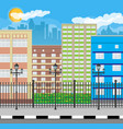 modern city view cityscape with fence and lamp vector image vector image