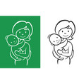 mother and little basign vector image