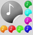 Music note icon sign Set of eight multi colored vector image