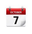 October 7 flat daily calendar icon Date vector image vector image