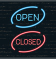open closed signborads neon effect in blue and vector image