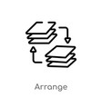 outline arrange icon isolated black simple line vector image vector image