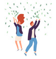 people money rain happy persons raining money vector image vector image