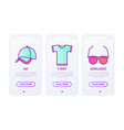 promotional products thin line icons set t-shirt vector image