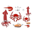 Red rab shrimp salmon steak and squid vector image