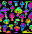 seamless with mushrooms bright psychedelic colors vector image