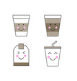 set of kawaii drink icons paper cups and tea bag vector image