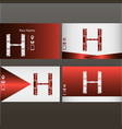 set of red and silver business cards with logo vector image