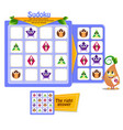 shapes game owl sudoku vector image vector image