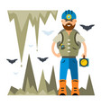 spelunker flat style colorful cartoon vector image vector image