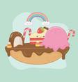 sweet pie chocolate cream with kawaii vector image