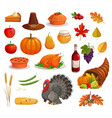 thanksgiving autumn holiday turkey food pilgrim vector image