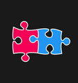 two piece puzzle 2 step jigsaw logo vector image vector image