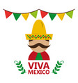 viva mexico man wearing traditional clothes hat vector image vector image
