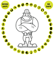 Yellow circular Health and Safety Icon collection vector image vector image
