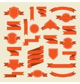 Orange ribbons and label set in flat style vector image
