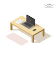 isometric laptop phone and documents vector image