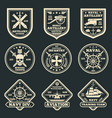 vintage military and army emblems badges vector image