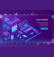 3d isometric e-commerce site of music vector image vector image