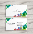 abstract colorful circles business card design vector image vector image