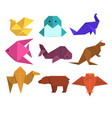animals origami set animals and birds made of vector image