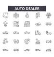auto dealer line icons signs set outline vector image