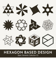 basic design collection hexagon based elments vector image