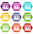 bass drum icons set 9 vector image