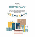 birthday card with cake gifts and confetti vector image