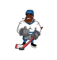 Cartoon ice hockey player with thumb up vector image vector image