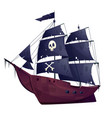 cartoon pirate ship boat with black sails vector image vector image