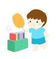 cute boy wiping dust from bookshelf vector image vector image