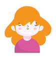 cute little girl portrait cartoon children vector image