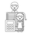 cute little student girl with teacher and vector image