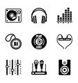 DJ icon set vector image vector image
